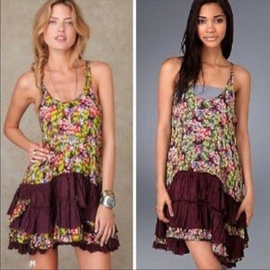 Free People Floral Crinkle Dress Size Small Petite
